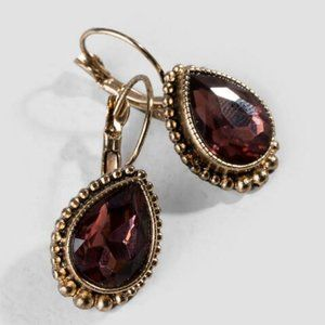 Francesca's Cathie Euro Teardrop Earrings in Berry